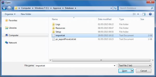 select import file